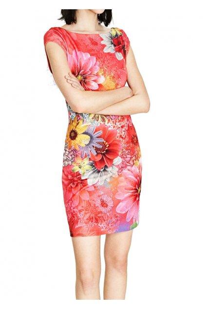 Růžové šaty s květy 73V2EX2/3002 DESIGUAL