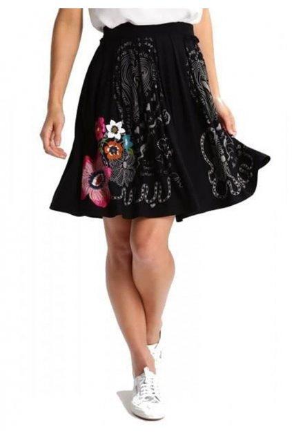 Kolová černá sukně 73F2EA1/2000 Desigual