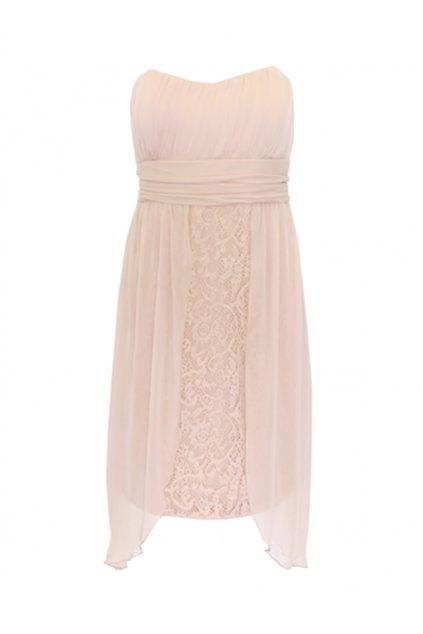 Pudrové krajkové šaty Bréal