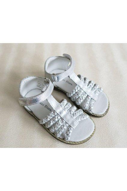 Dívčí kožené stříbrné sandály Orchestra
