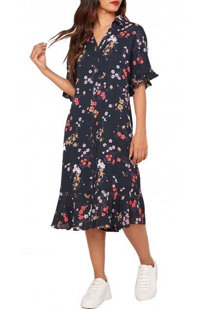 Šaty Tommy Hilfiger DW0DW072120GX TJW PRINTED RUFFLE SHIRT DRESS