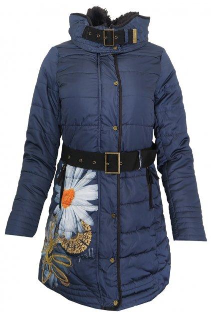 Modrá bunda s kopretinou Desigual