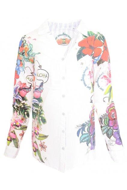 Desigual bílá květovaná košile Aloha