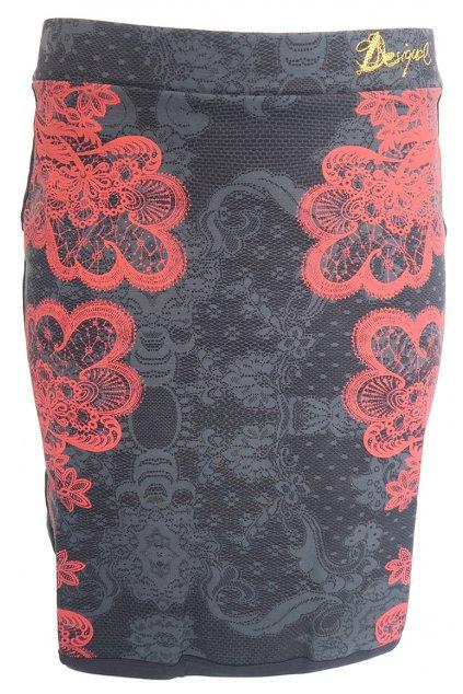 Desigual černá sukně s červenými květy