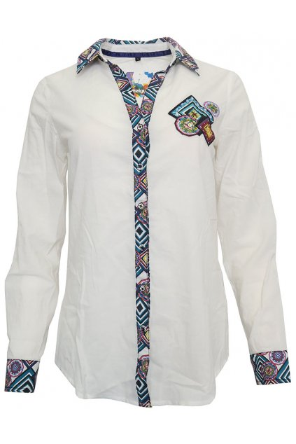 Desigual bílá košile s barevnými lemy