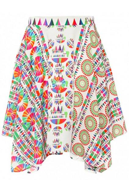 Desigual bílá sukně s barevnými ornamenty