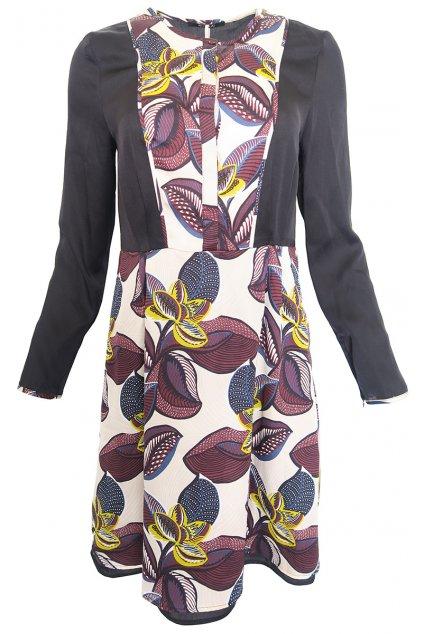 Béžovo černé šaty s kvítky Kookai