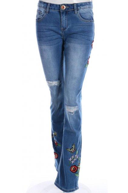 Desigual džíny s výšivkou květů