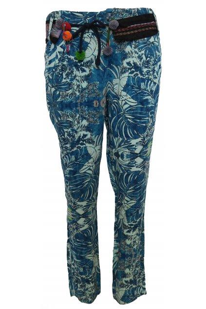Desigual barevné kalhoty s bambulkami
