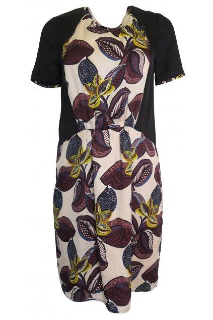 Béžovočerné květované šaty Kookai