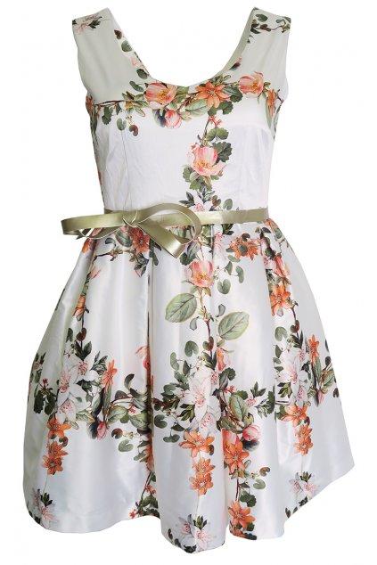 Bílé šaty s květy Rinascimento