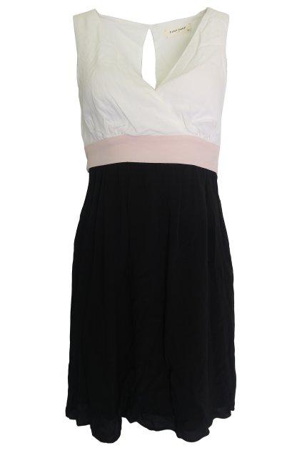 Černobílé šaty s růžovým pasem Naf Naf