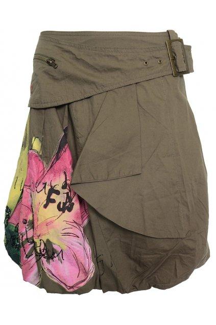 Barevná sukně s růžovým květem Desigual