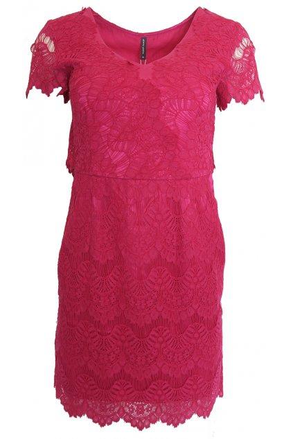Fuchsiové krajkové šaty Naf Naf