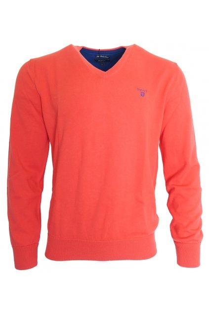 Červený svetr s vnitřními modrými lemy Gant