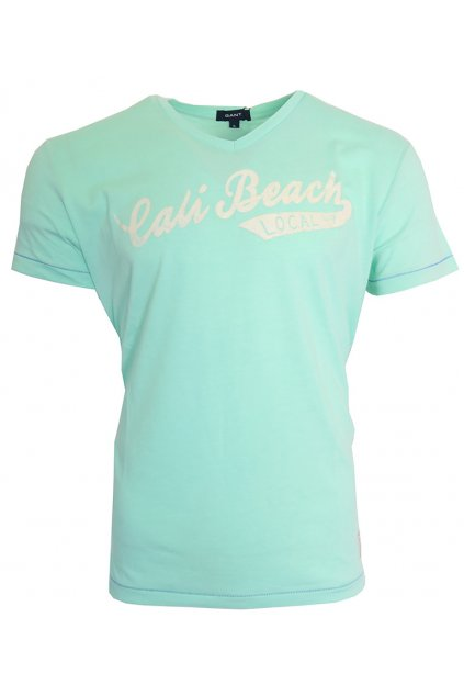 Mint triko s bílým nápisem Gant