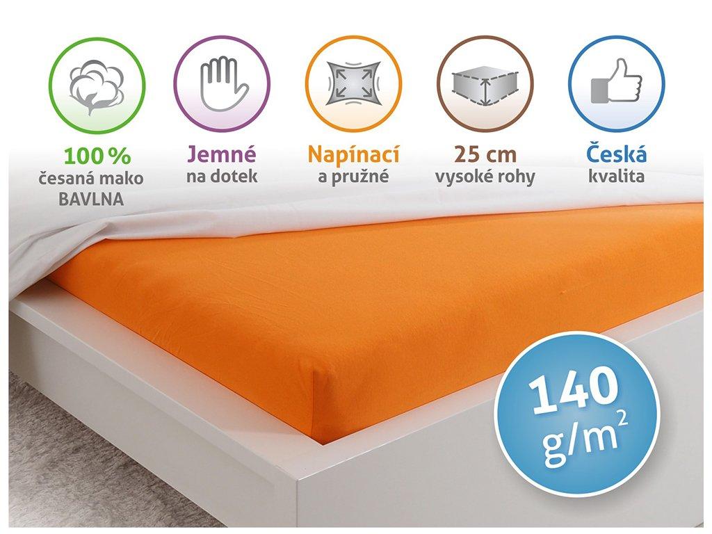 Prostěradlo Jersey česaná bavlna MAKO - Sytá oranžová