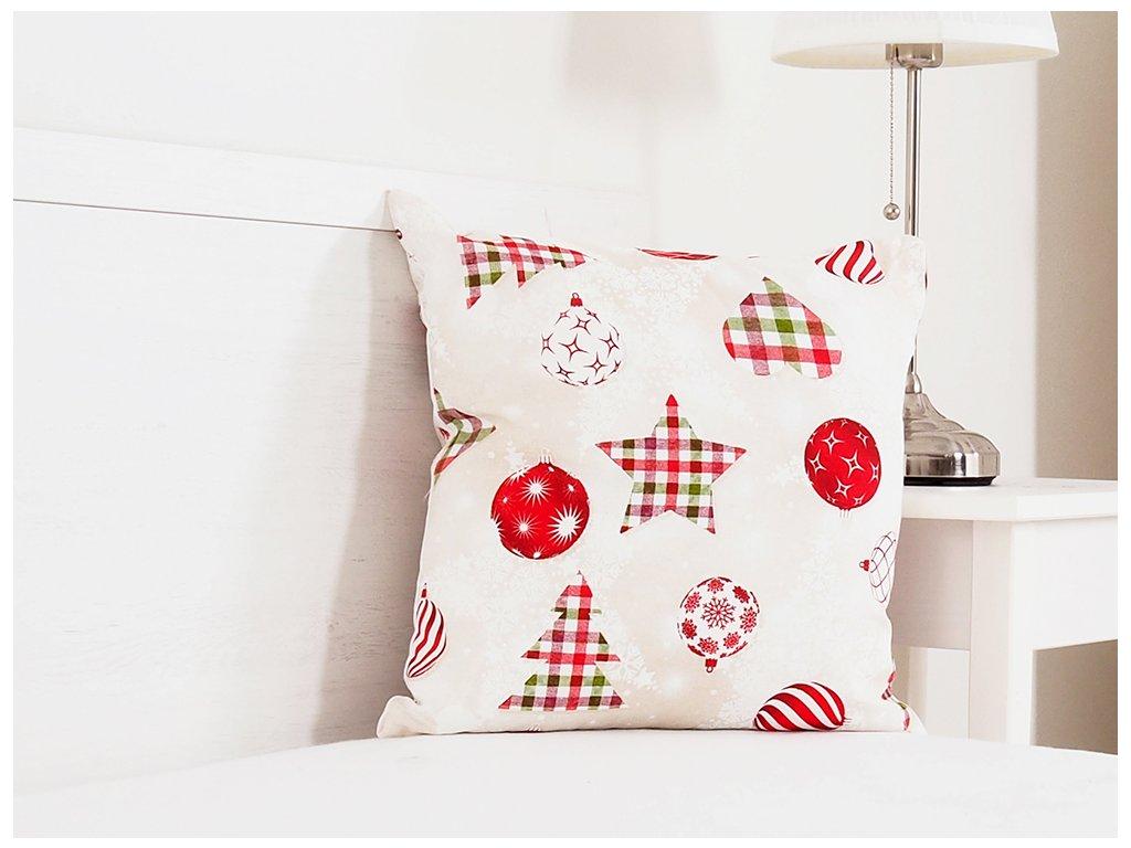 Vánoční dekorační polštářek 45x45 - Vánoční káro
