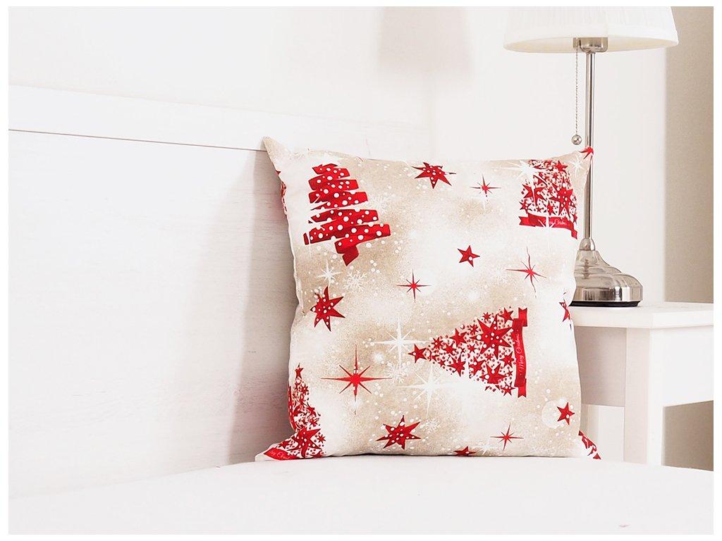 Vánoční dekorační polštářek 45x45 - Stromeček a stuha