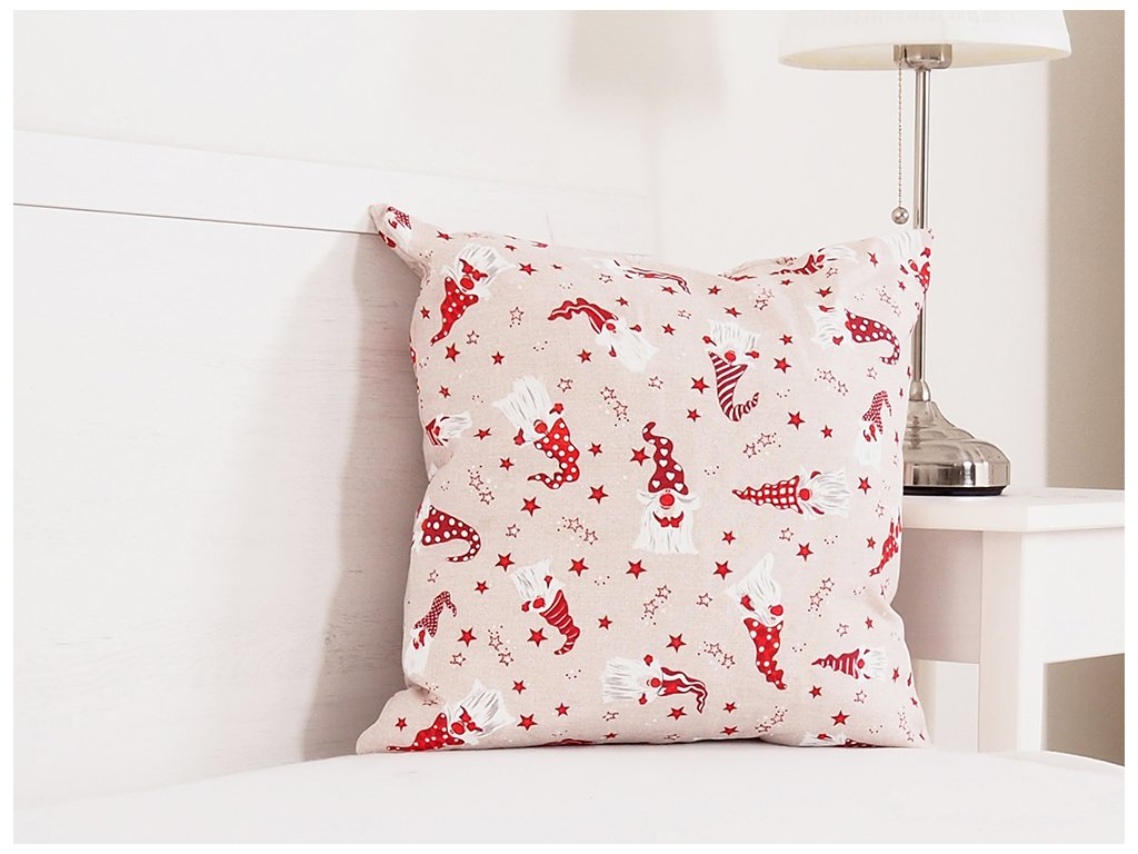 Vánoční dekorační polštářek 45x45 - Vánoční trpaslíci