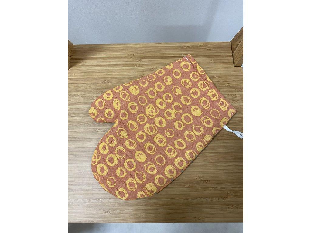 Kuchyňská chňapka s magnetem a poutkem - vzor Bari