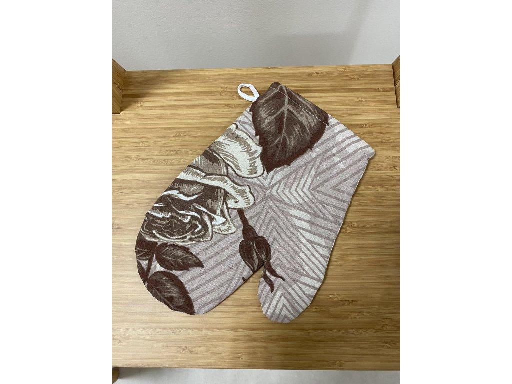 Kuchyňská chňapka s magnetem a poutkem - vzor Růže do hněda