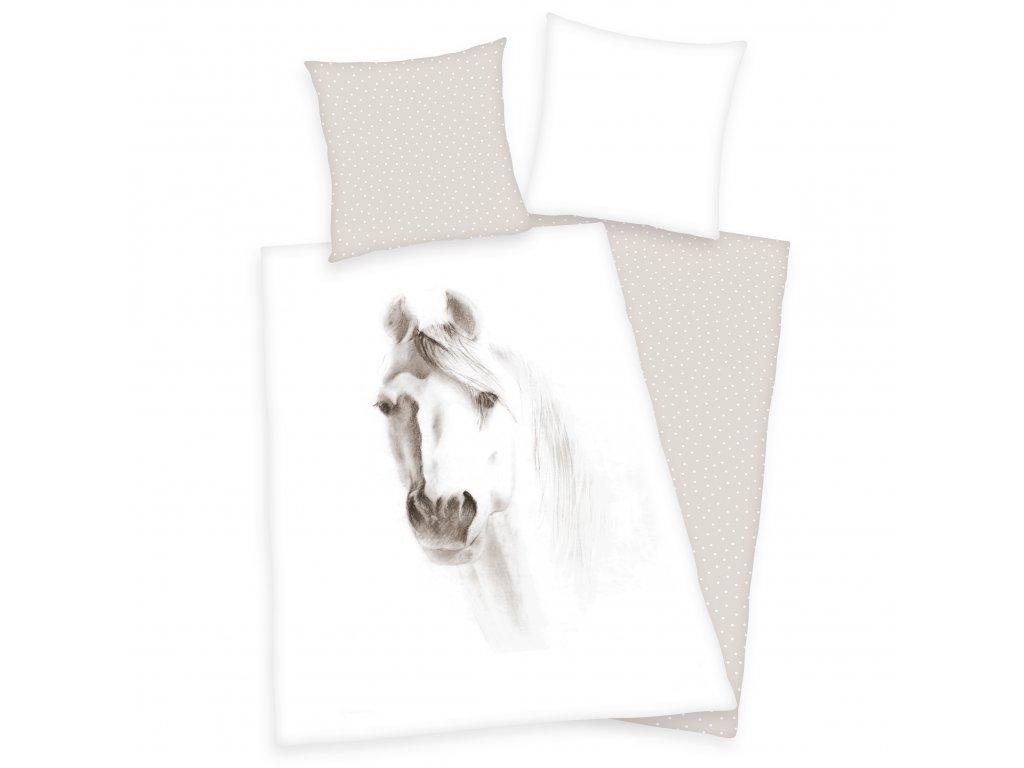 Bavlněné povlečení 140x200 + 70x90 cm - Hlava koně