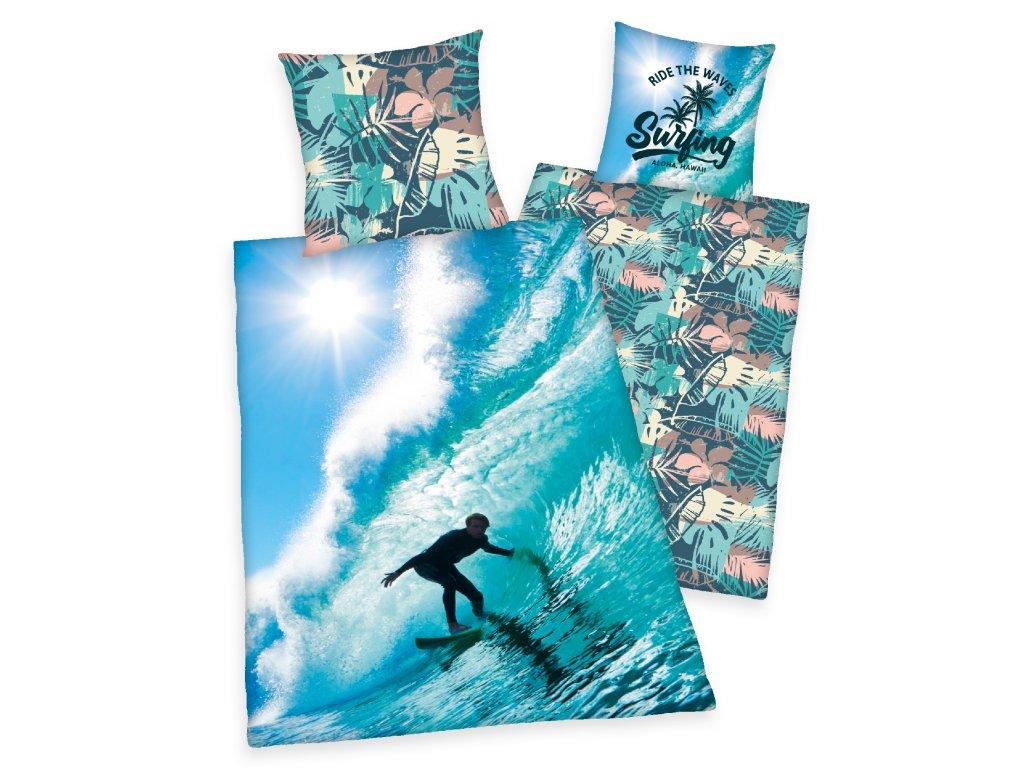 Bavlněné povlečení 140x200 + 70x90 cm - Surfař na vlně