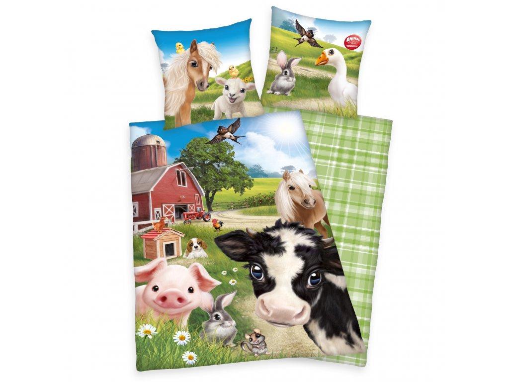 Bavlněné povlečení 140x200 + 70x90 cm - Zvířátka na farmě