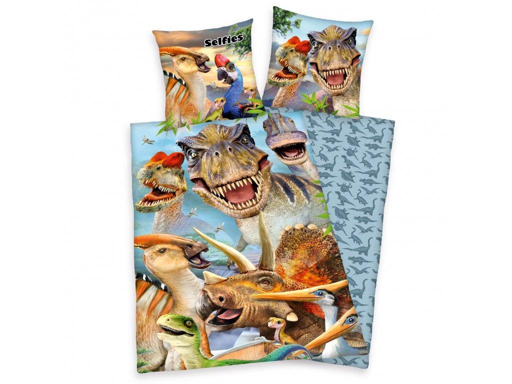 Bavlněné povlečení 140x200 + 70x90 cm - Dinosauří Selfie