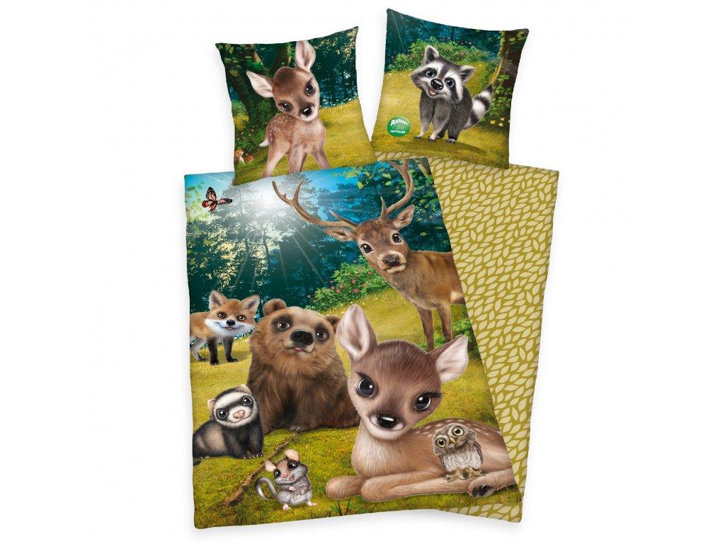 Bavlněné povlečení 140x200 + 70x90 cm - Zvířátka v lese