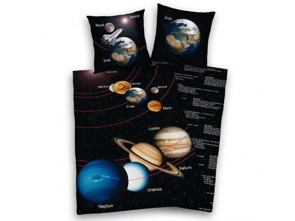 Bavlněné povlečení 140x200 + 70x90 cm - Sluneční soustava