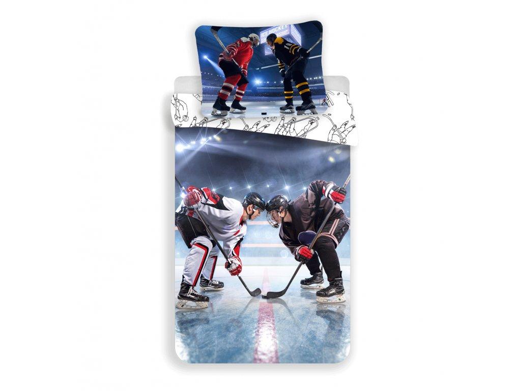 Bavlněné povlečení 140x200 + 70x90 cm - Lední hokej