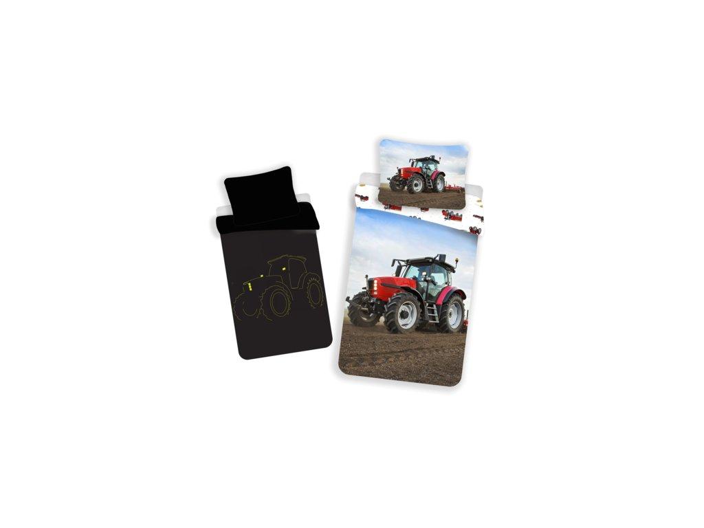 Bavlněné povlečení 140x200 + 70x90 cm - Traktor red svítící ve tmě