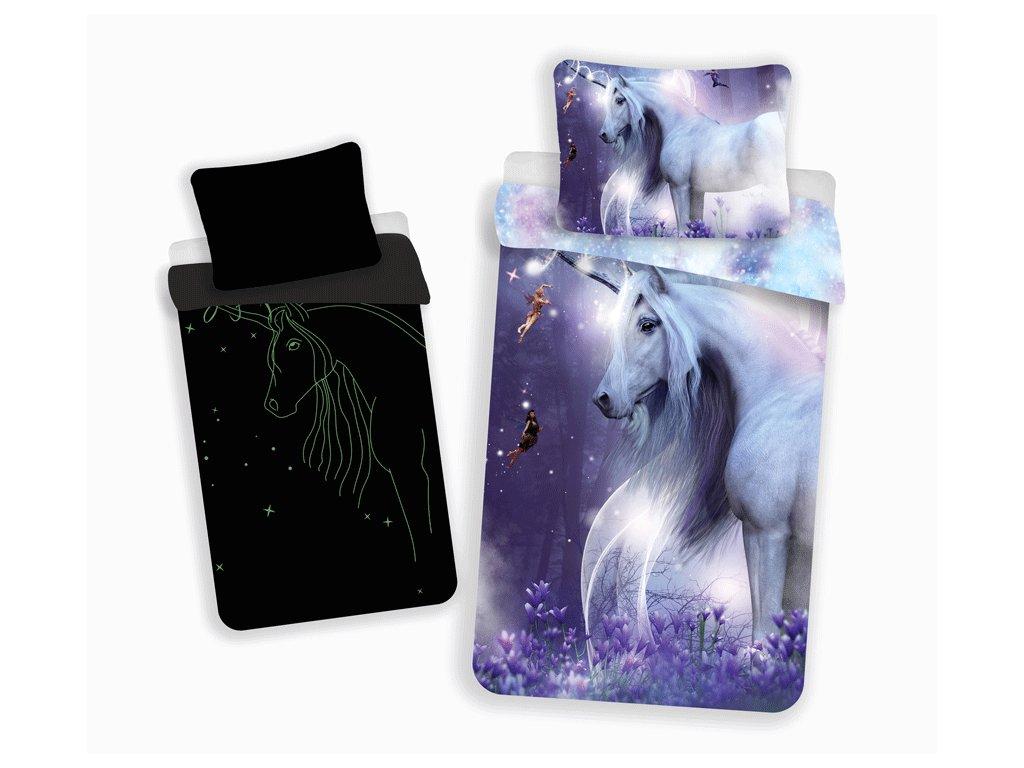 Bavlněné povlečení 140x200 + 70x90 cm - Unicorn svítící ve tmě