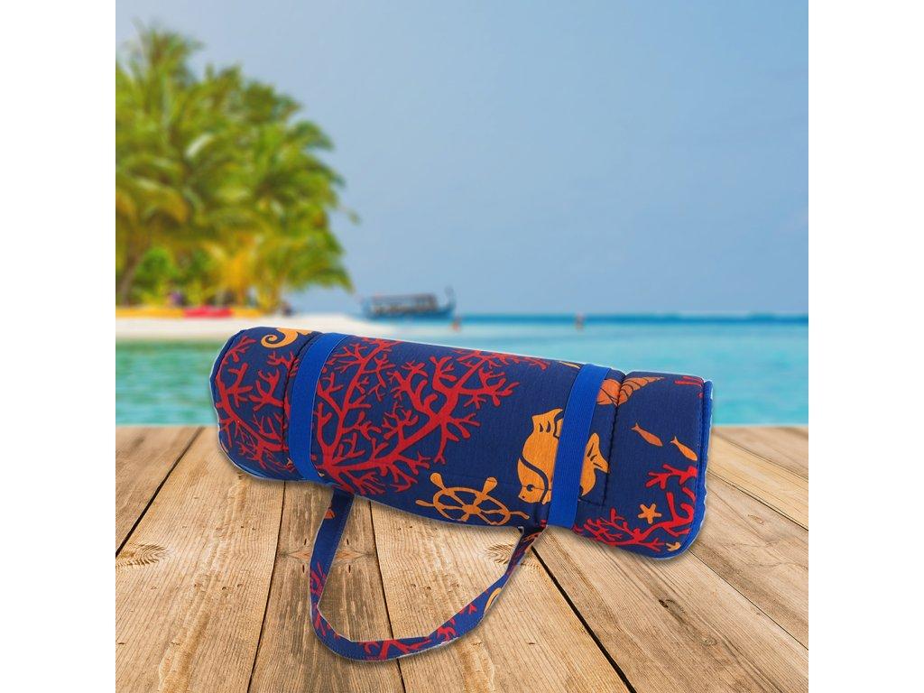Plážové lehátko v ruličce - mořský koník s korály