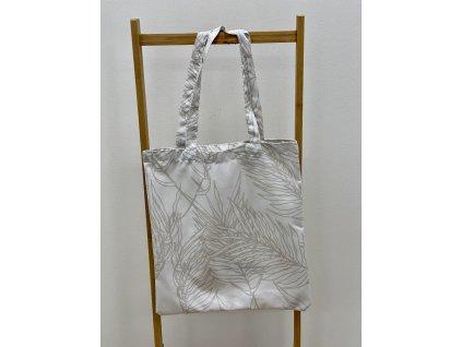 Látková taška - 40x45cm - vzor Peříčka světlé