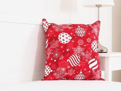 Vánoční dekorační polštářek 45x45 - Červené Vánoce