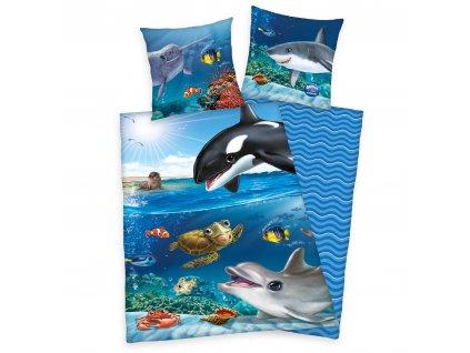 Bavlněné povlečení 140x200 + 70x90 cm - Zvířátka v oceánu