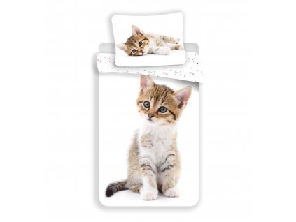 Bavlněné povlečení 140x200 + 70x90 cm - Kitten White