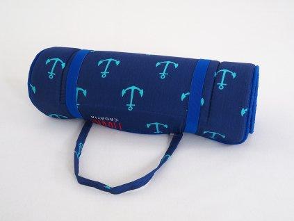 Plážové lehátko v ruličce - modré kotvičky