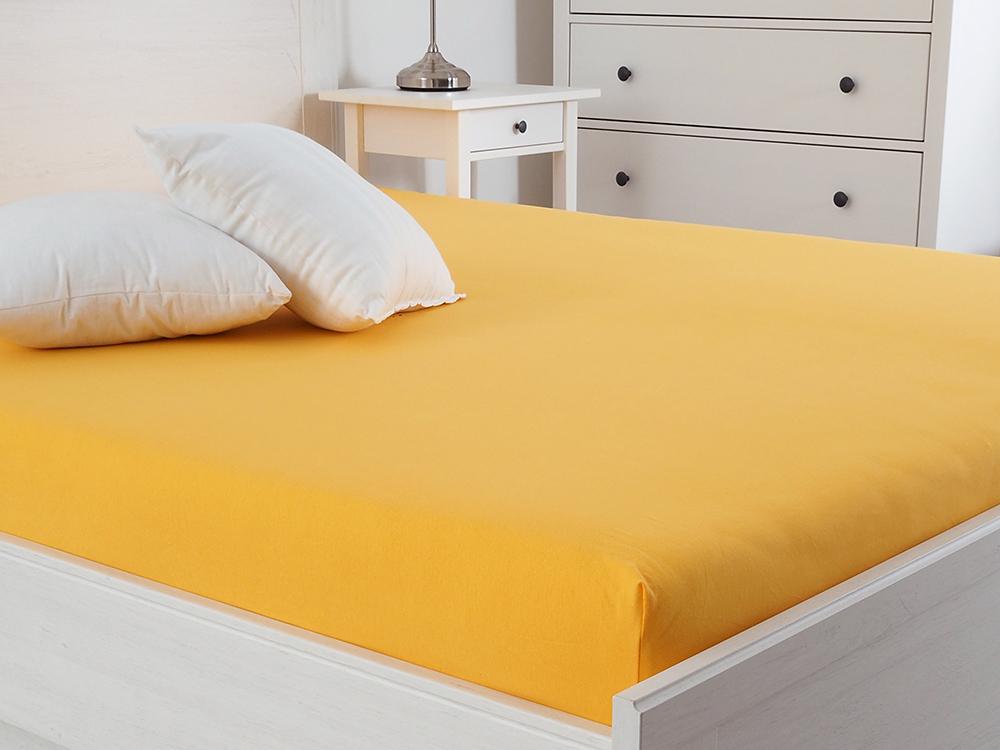 Jersey prostěradlo s elastanem Lycra - Sytá žlutá Rozměr: 90 x 200