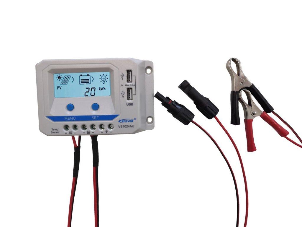 Solární regulátor VS1024AU s konektory MC4 / krokosvorka