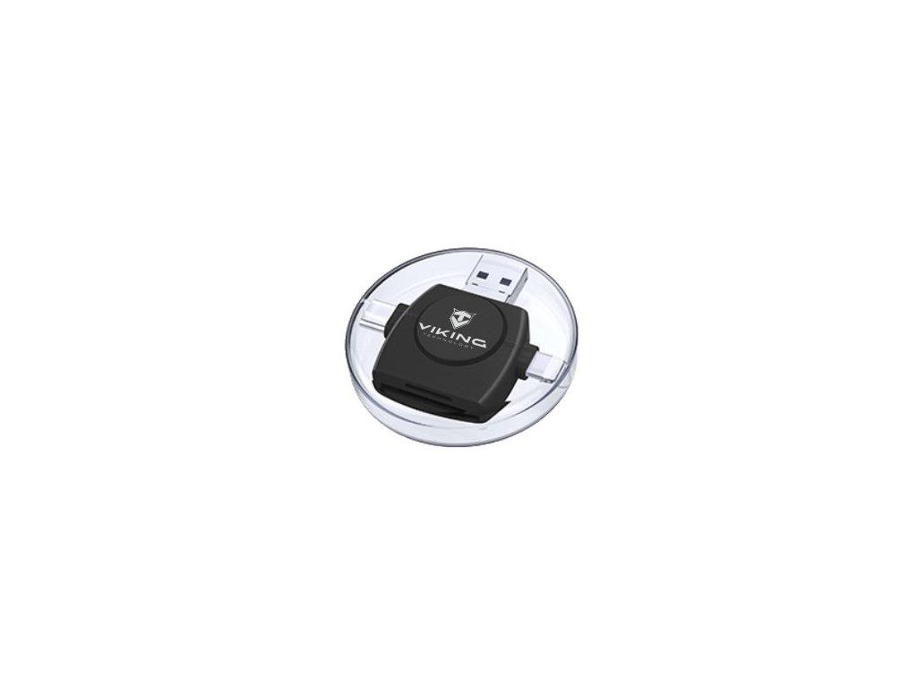 Viking čtečka paměťových karet V4 USB3.0 4V1  S KONCOVKOU LIGHTNING / MICRO USB / USB 3.0 / USB-C