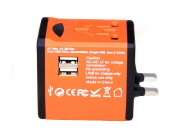 Cestovní adaptér JY-188 s duální USB nabíječkou