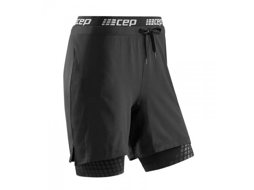 CEP Performance 2v1 pánské šortky černé (Velikost XL)