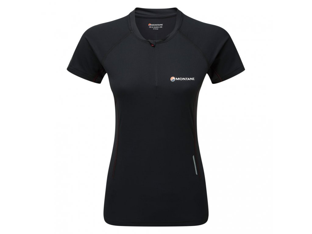 montane womens snap zip t shirt černé