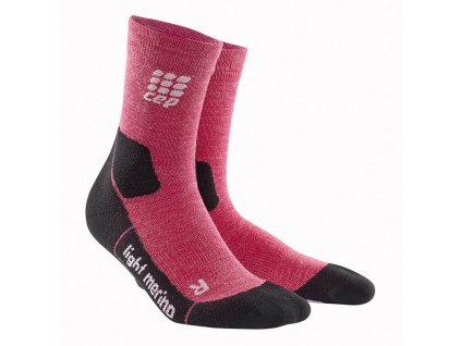 1280x1280 CEP Outdoor Light Merino Mid Cut Socks wild berry WP4CGF w pair