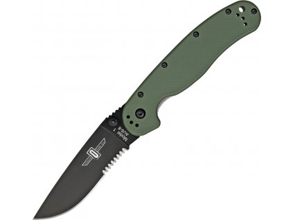 Nůž Ontario RAT 1 Black Seratted green
