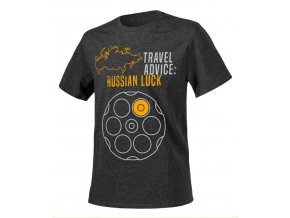 Helikon T-Shirt Travel Advice Russian Luck melange black-grey
